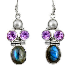 925 silver 14.12cts natural blue labradorite amethyst dangle earrings d32387