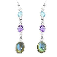 925 silver 8.57cts natural blue labradorite amethyst dangle earrings p64807
