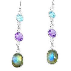 925 silver 10.09cts natural blue labradorite amethyst dangle earrings p66464