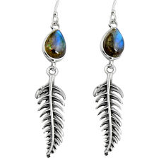 Clearance Sale- 925 silver 5.36cts natural blue labradorite deltoid leaf earrings jewelry d32437