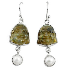 925 silver 17.22cts natural blue labradorite pearl buddha charm earrings p78131