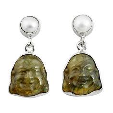 925 silver 15.67cts natural blue labradorite pearl buddha charm earrings p78138