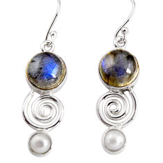925 silver 11.66cts natural blue labradorite pearl dangle earrings p91492