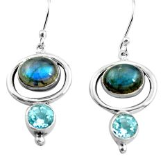 925 silver 8.52cts natural blue labradorite topaz dangle earrings p77559