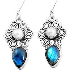 925 silver 9.10cts natural blue labradorite white pearl dangle earrings p41299