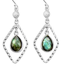 925 silver 9.10cts natural blue labradorite white pearl dangle earrings p90000