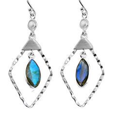 925 silver 11.73cts natural blue labradorite white pearl dangle earrings p91556