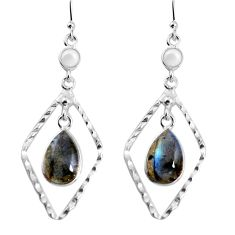 925 silver 8.80cts natural blue labradorite white pearl dangle earrings p92499