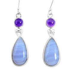 925 silver 17.32cts natural blue lace agate amethyst dangle earrings p47889