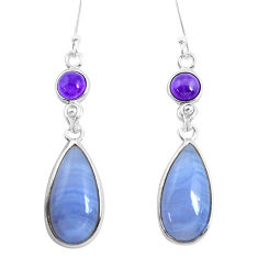 925 silver 14.91cts natural blue lace agate amethyst dangle earrings p47895