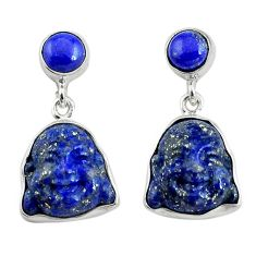 925 silver 17.22cts natural blue lapis lazuli buddha charm earrings p78196