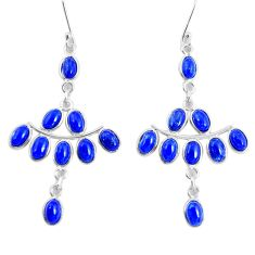 925 silver 16.50cts natural blue lapis lazuli chandelier earrings jewelry p48984