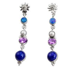 925 silver 16.17cts natural blue lapis lazuli pearl dangle earrings d32328