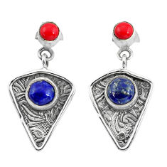 925 silver 4.26cts natural blue lapis lazuli red coral dangle earrings p57587