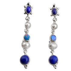 925 silver 16.46cts natural blue lapis lazuli white pearl dangle earrings d32339