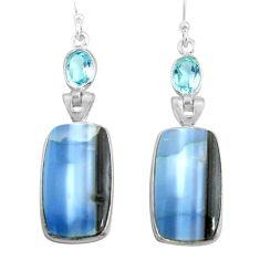 925 silver 17.96cts natural blue owyhee opal topaz dangle earrings p78564