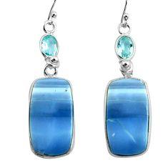 925 silver 19.09cts natural blue owyhee opal topaz dangle earrings p78567