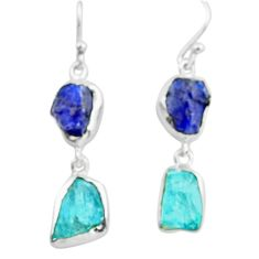 925 silver 14.14cts natural blue sapphire rough apatite rough earrings p73844