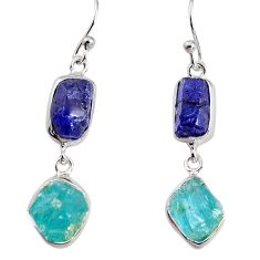 925 silver 16.18cts natural blue sapphire rough apatite rough earrings p91564