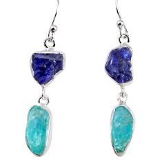925 silver 14.72cts natural blue sapphire rough dangle earrings p91567