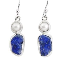 925 silver 13.28cts natural blue sapphire rough pearl dangle earrings p51824