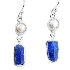 925 silver 11.66cts natural blue sapphire rough pearl dangle earrings p51828