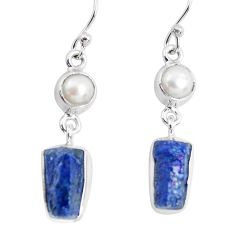 925 silver 12.07cts natural blue sapphire rough pearl dangle earrings p51836
