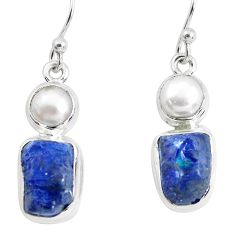 925 silver 12.36cts natural blue sapphire rough pearl dangle earrings p51839