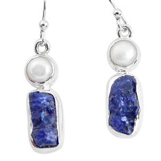 925 silver 14.88cts natural blue sapphire rough pearl dangle earrings p51848