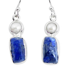 925 silver 15.76cts natural blue sapphire rough pearl dangle earrings p51852