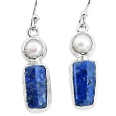 925 silver 14.47cts natural blue sapphire rough pearl dangle earrings p51860