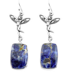 925 silver 16.70cts natural blue sodalite angel wings fairy earrings p72533