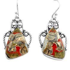 925 silver 16.01cts natural brown mushroom rhyolite dangle earrings p72714