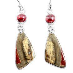 925 silver 16.68cts natural brown mushroom rhyolite dangle earrings p78534