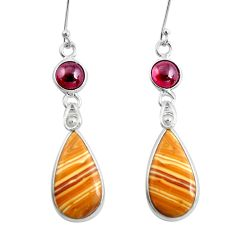 925 silver 14.91cts natural brown picture jasper garnet dangle earrings p50799