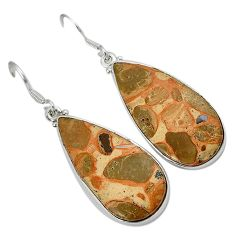925 silver natural brown rocky butte picture jasper pear dangle earrings h71762