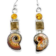 925 silver 15.47cts natural brown russian jurassic opal ammonite earrings p64705