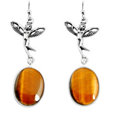 925 silver 18.28cts natural brown tiger's eye angel wings fairy earrings p91884