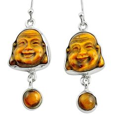 925 silver 16.18cts natural brown tiger's eye buddha charm earrings p78170