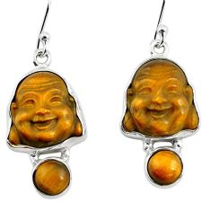 925 silver 15.65cts natural brown tiger's eye buddha charm earrings p78173