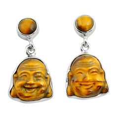 925 silver 16.73cts natural brown tiger's eye buddha charm earrings p78215