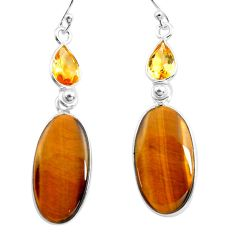 925 silver 19.09cts natural brown tiger's eye citrine dangle earrings p78704