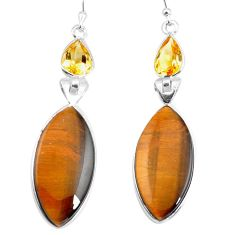 925 silver 18.39cts natural brown tiger's eye citrine dangle earrings p78712
