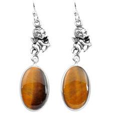 925 silver 14.23cts natural brown tiger's eye cupid angel wings earrings p72509