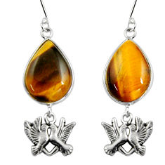 925 silver 21.68cts natural brown tiger's eye love birds earrings jewelry d32369