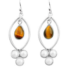 925 silver 9.88cts natural brown tiger's eye white pearl dangle earrings p77447