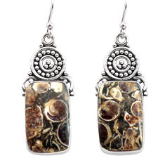 925 silver 16.87cts natural brown turritella fossil snail agate earrings p72652
