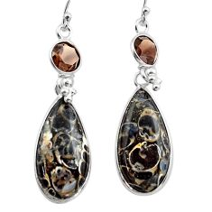 925 silver 17.46cts natural brown turritella fossil snail agate earrings p88818