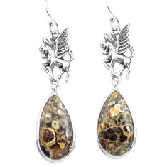 925 silver natural brown turritella fossil snail agate unicorn earrings p72576