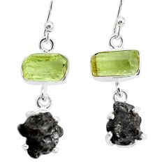 925 silver 22.30cts natural campo del cielo apatite rough fancy earrings p35309